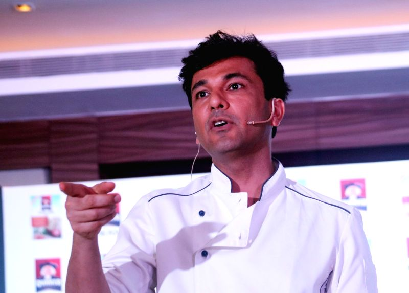 Renowned Chef  Vikas Khanna during a promotional programme in New Delhi on April 20, 2017.