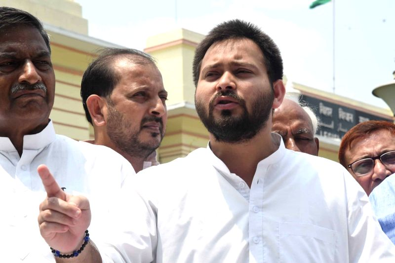 RJD leader Tejashwi Yadav talks to the press at the Bihar Assembly in Patna on Aug 25, 2017.