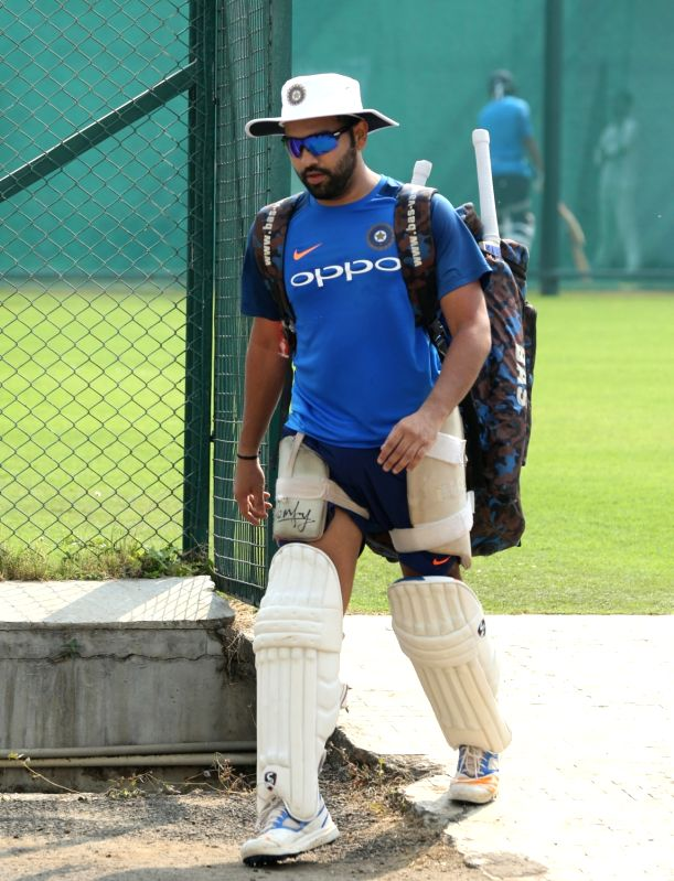 Rohit Sharma of India during a practice session at the Vidarbha Cricket Association Stadium in Nagpur on Nov 23, 2017.