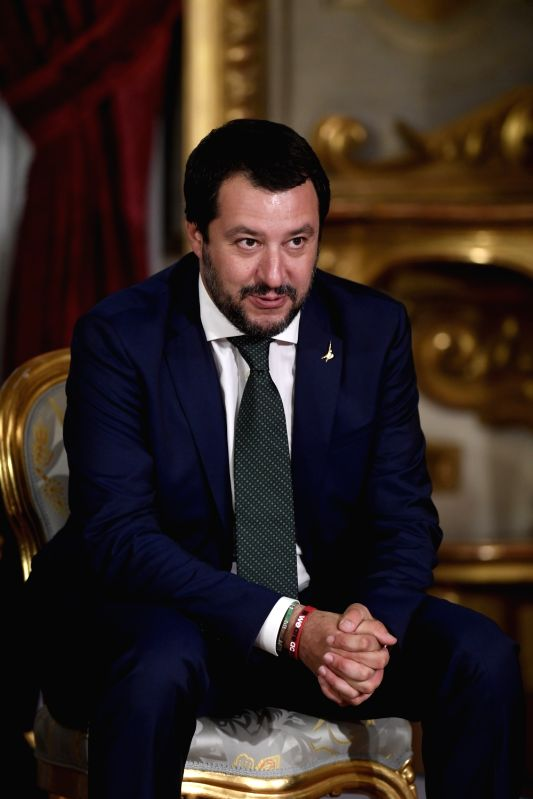 ROME, June 1, 2018 - Italian Interior Minister Matteo Salvini attends the swearing-in ceremony of the new cabinet at the Quirinal Palace in Rome, Italy, June 1, 2018. Italy's new government of Prime ...(Image Source: Xinhua/Alberto Lingria/IANS)