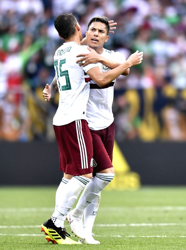 ROSTOV-ON-Players of Mexico celebrate scoring during the 2018 FIFA World Cup Group F match between South Korea and Mexico in Rostov-on-Don, Russia, June 23, 2018.(Image Source: Xinhua/Chen Yichen/IANS)