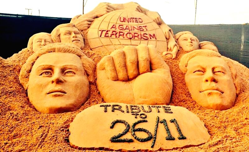 Sudarsan Pattnaik's recent sand art on 26/11 Terror Attacks(Image Source: IANS)