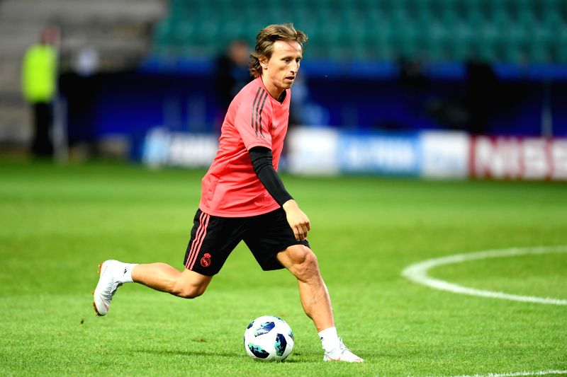 TALLINN, Aug. 15, 2018 - Real Madrid's Luka Modric attends a training session at Lillekula Statium in Tallinn, Estonia, Aug. 14, 2018. The UEFA Super Cup match between Real Madrid and Atletico Madrid ...(Image Source: Xinhua/Sergei Stepanov/IANS)