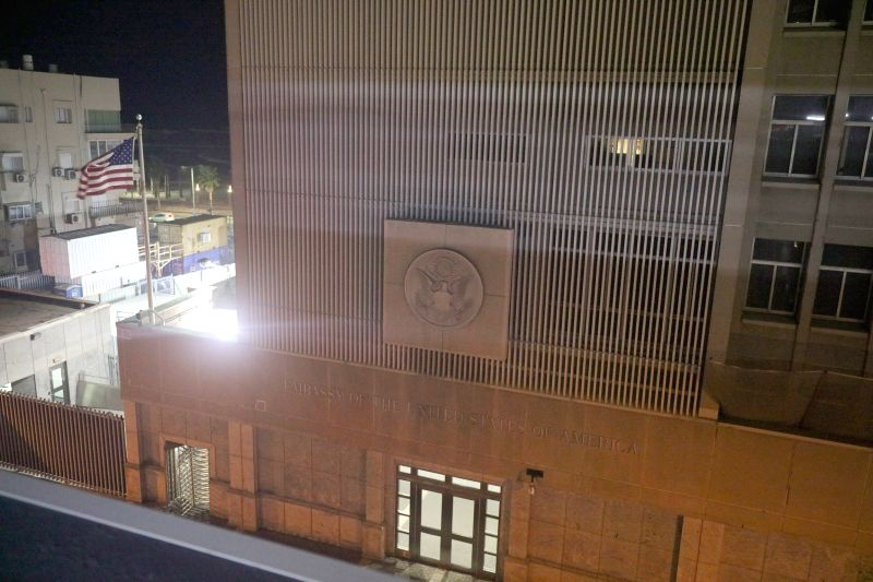 TEL AVIV, Dec. 6, 2017 - Photo taken on Dec. 6, 2017 shows the U.S. embassy in Israel in Tel Aviv, Israel. U.S. President Donald Trump announced Wednesday his recognition of Jerusalem as the capital ...