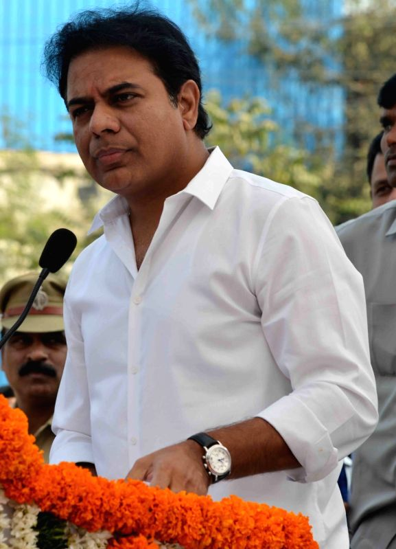 Telangana Municipal Administration and Urban Development Minister K. T. Rama Rao addresses during the inauguration of an underpass at Ayyappa Society Junction in Madhapur, Hyderabad on Jan ...(Image Source: IANS)