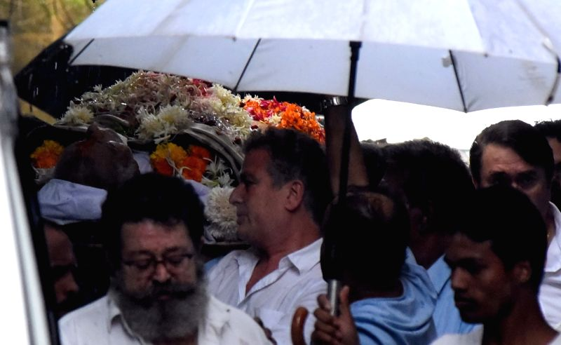 The body of late actor-filmmaker Shashi Kapoor being taken for cremation in Mumbai on Dec 5, 2017. The romantic screen icon of the 1970s and early 1980s died aged 79. The cause of death was ...