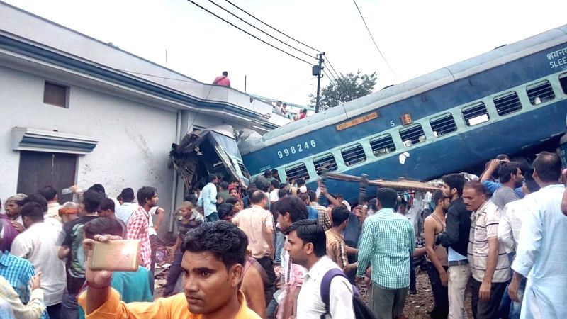 The bogies of Kalinga-Utkal Express that derailed near Khatauli in Muzaffarnagar district of Uttar Pradesh on Aug 19, 2017. At least thirteen people have died, and 58 injured people ...