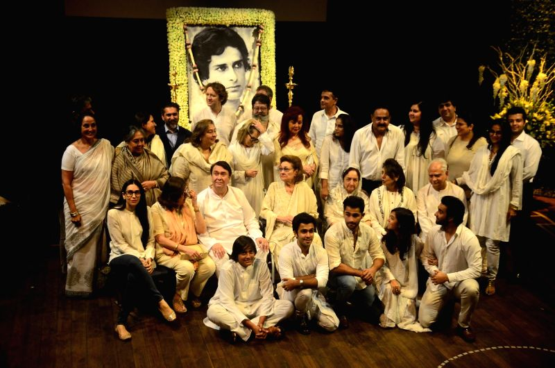 The Kapoor clan pose for a family photograph at Late actor Shashi Kapoor's condolence meeting in Mumbai on Dec 7, 2017.