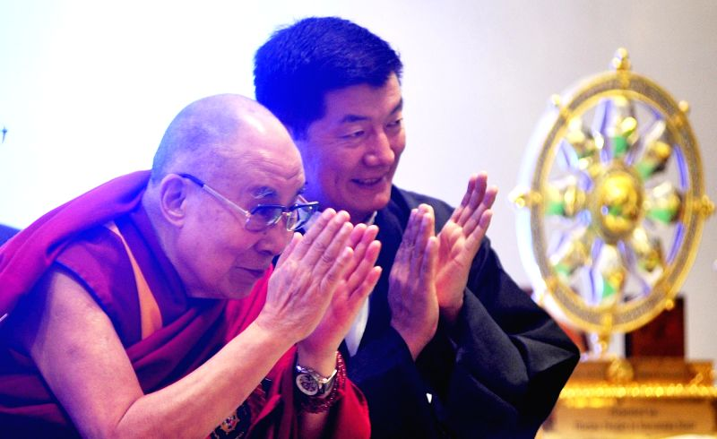 "Tibetan spiritual leader the Dalai Lama and Central Tibetan Administration President Lobsang Sangay during ""Thank You Karnataka"" an event to mark 60th year of Tibetan arrival to ...(Image Source: IANS)"
