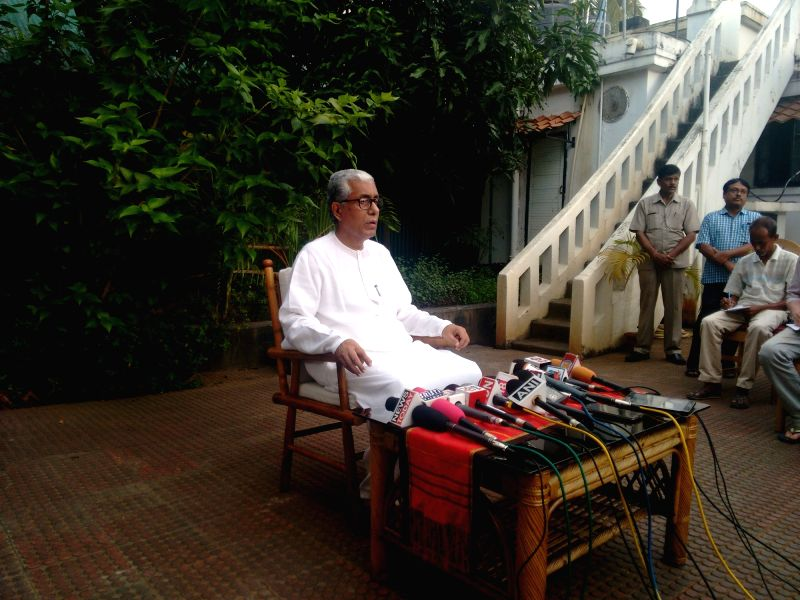 Tripura Chief Minister Manik Sarkar addresses a press conference in Agartala, on July 16, 2017.