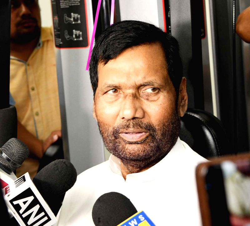Union Consumer Affairs, Food and Public Distribution Minister Ram Vilas Paswan talks to the media during the inauguration of Gymnasium of the Department of Food and Public Distribution, in ...(Image Source: IANS/PIB)