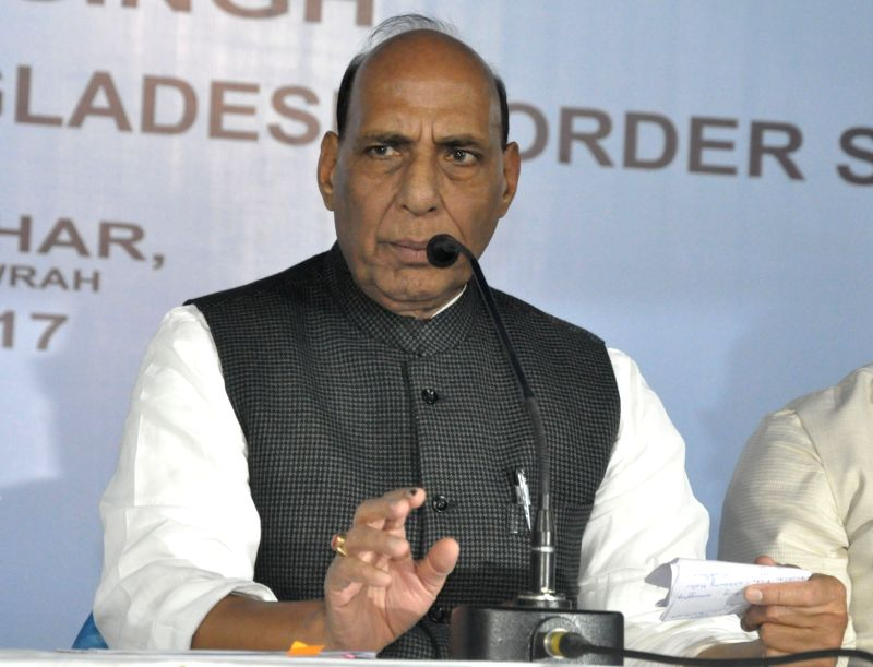 Union Home Minister Rajnath Singh addresses during a meeting of states having international border at Nabanna in Howrah, near Kolkata on Dec 7, 2017.