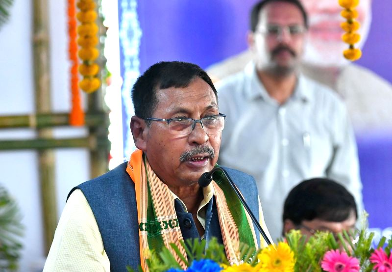 Union Minister of State for Railways Rajen Gohain addresses at the flag-off ceremony of the Agartala-Deoghar Express Weekly train, at Agartala Railway Station, in Agartala on July 6, 2018.(Photo:IANS/PIB)