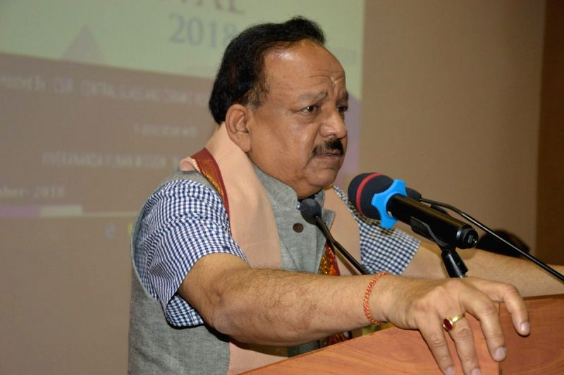 Union Science and Technology Minister Harsh Vardhan addresses at the curtain raiser of 2018 India International Science Festival (IISF), in Kolkata, on Sept 14, 2018.(Image Source: IANS/PIB)