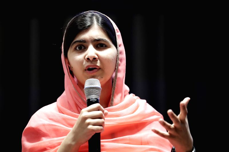 UNITED NATIONS, April 10, 2017 - Malala Yousafzai is seen during her designation ceremony as the UN Messenger of Peace with a special focus on girls' education at the UN headquarters in New York, on ...