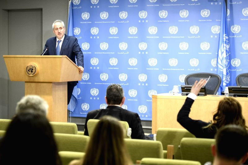 UNITED NATIONS, June 1, 2017 - Stephane Dujarric, spokesperson for UN Secretary-General, takes questions from journalists at the UN headquarters in New York, on June 1, 2017. The U.S. decision to ...
