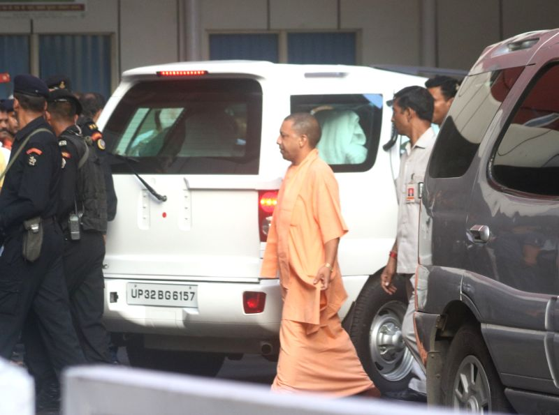Uttar Pradesh Chief Minister Yogi Adityanath arrives at AIIMS where Former Prime Minister Atal Bihari Vajpayee is admitted, in New Delhi on Aug 16, 2018.(Image Source: IANS)
