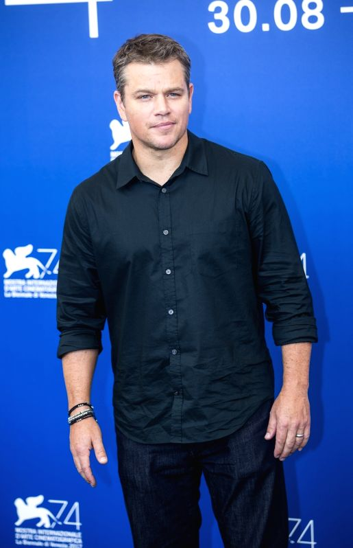 "VENICE, Aug. 30, 2017 - Actor Matt Damon poses during a photocall for the movie ""Downsizing"" at the 74th Venice Film Festival in Venice, Italy August 30, 2017.(Image Source: Xinhua/Jin Yu/IANS)"