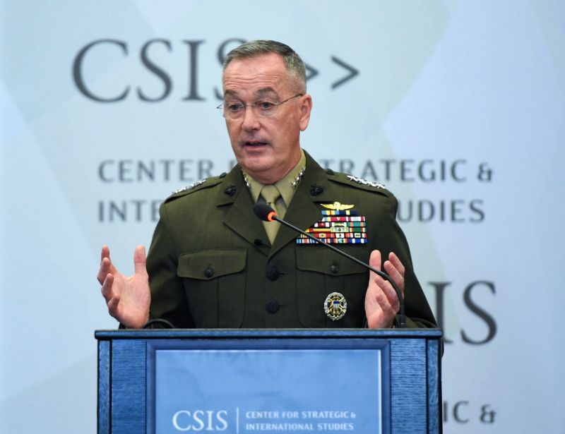 WASHINGTON D.C., March 29, 2016 - U.S. Joint Chiefs of Staff Chairman Joseph Dunford speaks at the Center for Strategic and International Studies (CSIS) on global security challenges in Washington ...