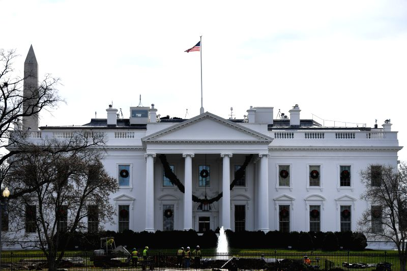 WASHINGTON, Dec. 6, 2017 - Photo taken on Dec. 6, 2017 shows the White House in Washington D.C., the Unite States. U.S. President Donald Trump announced at the White House Wednesday his recognition ...