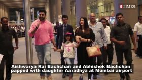 Aishwarya Rai Bachchan and Abhishek Bachchan gets papped playing the role of protective parents at Mumbai Airport