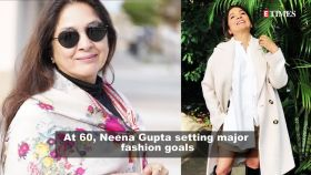 At 60, Neena Gupta's looks radiant in a sari with spaghetti blouse