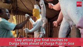 Durga Puja 2019: Clay artists give final touches to idols in Goa