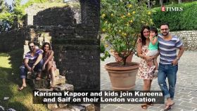 Kareena Kapoor Khan and son Taimur pose with Karisma and her kids in London