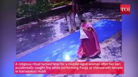 Karnataka: Woman's sari catches fire in temple in tragic accident, results in 60% burn injuries