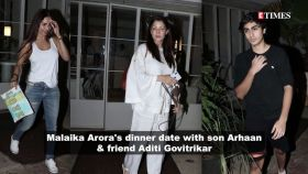 Malaika Arora gets spotted with son Arhaan Khan and friend Aditi Govitrikar on a dinner outing