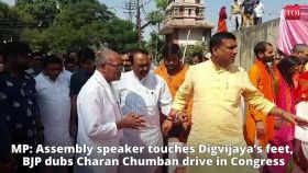 MP: Assembly speaker touches Digvijaya's feet; BJP dubs it 'Charan Chumban' drive